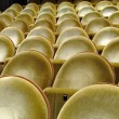 Gold upholstered seats in the cinema - Stock Photo