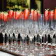 Empty glasses with strawberries — Stock Photo #9672550
