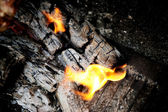 Coal and wood ash burning in chargrill — Stock Photo