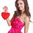 Happy brunette holding love sign — Stockfoto #8969961