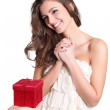 Young womreceiving red box — Stock Photo #8970132
