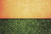 Wand-hintergrund auf grünem gras, vintage-stil — Stockfoto