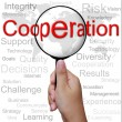 Foto de Stock  : Cooperation, word in Magnifying glass ,business background
