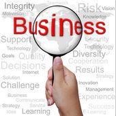 Business, woord in vergrootglas, zakelijke achtergrond — Stockfoto