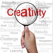 Kreativität, wort in lupe, betriebswirtschaftlicher hintergrund — Stockfoto