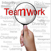Teamwork, word in Magnifying glass ,business background — Stock Photo