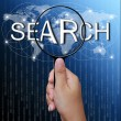 Search, word in Magnifying glass,network background — Stock Photo