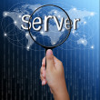 Server, word in Magnifying glass,network background — Stock Photo