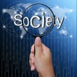 Stock Photo: Society, word in Magnifying glass,network background