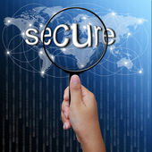 Secure, word in Magnifying glass,network background — Foto Stock