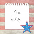 4th of July independence day on note paper — Zdjęcie stockowe