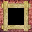 Stock Photo: Brick wall with wood frame