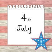 4th of July independence day on note paper — Stock Photo