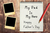 Happy Father's Day Note Paper with instant photo frames — Stock Photo