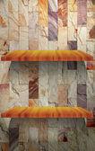 Puste półki drewniane na kamienny mur — Zdjęcie stockowe