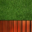 Wall  Background on green grass - Stock Photo