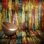 Round wicker chairs in Full color old wood room — Stock Photo
