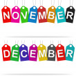 Stock Photo: Month on tags