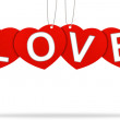 Heart valentine tag label with Corrugated paper craft on white b — Stock Photo