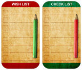 Pencil on Sticky pad wish list and check list form on old note p — Stock Photo
