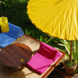 Yellow umbrella and Couch in Thai Resort — Stock Photo