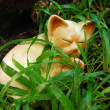 Ceramic cat in the grass — Stock Photo