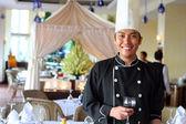 Chef salute at restaurant — ストック写真