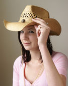 Tipping Her Hat — Stock Photo
