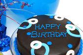 Blauwe verjaardagstaart — Stockfoto
