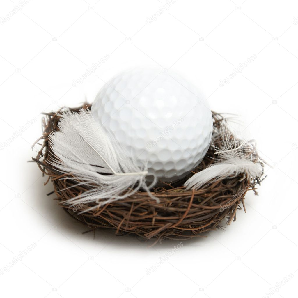 A conceptual golf ball inside a nest to give the idea of the future of golf.  Stock Photo #8699514