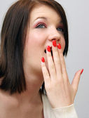 Girl Covers Her Mouth — Stock Photo