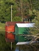 Summer Boathouses — Stock Photo