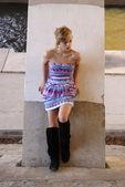Girl Under the Bridge — Stock Photo