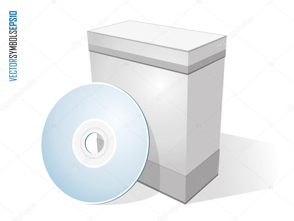 Blank software box with disc isolated on white  Stock Vector #8404241
