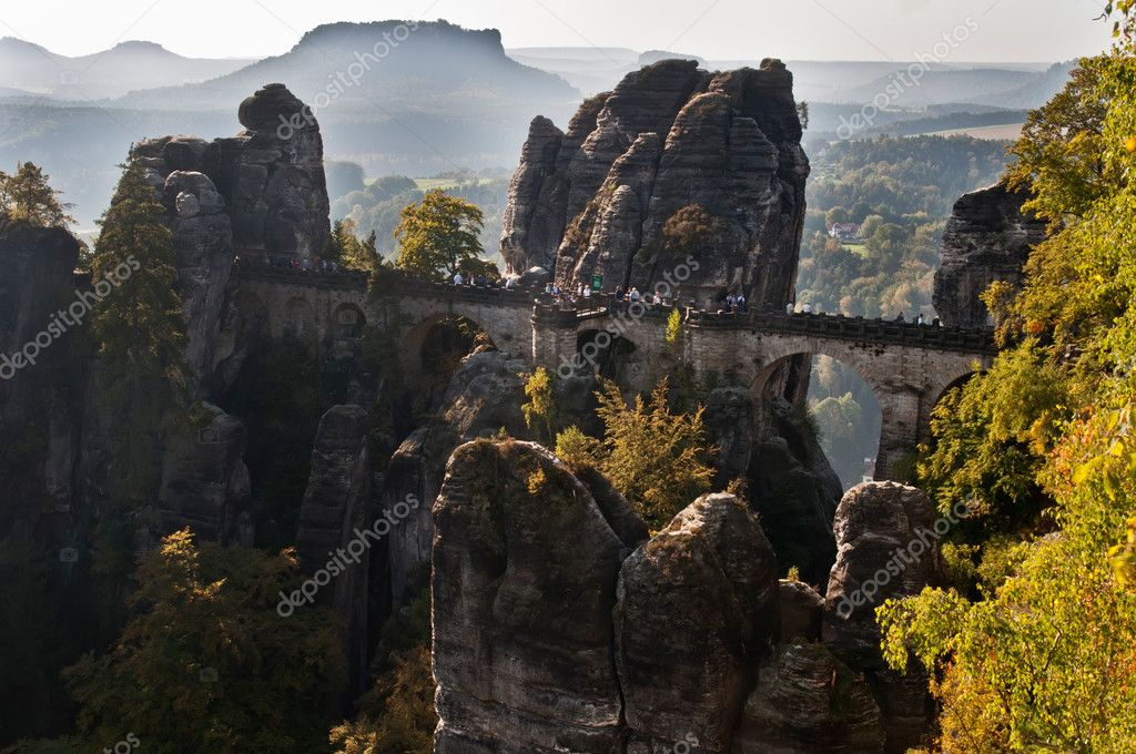 Bastei Bridge in a beautiful mountain of Czech-Saxony Switzerland. The Bastei has been a tourist attraction for over 200 years. — Stock Photo #10207133