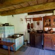 Old Wooden House Interior - Stock Photo