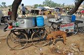 Street Bazaar and Outdoor Kitchen in Jaipur — Stock Photo