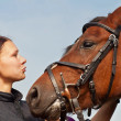 Horse and Equestrienne — Stock Photo