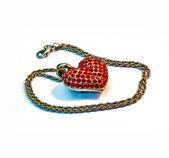 Red heart pendant — Stock Photo