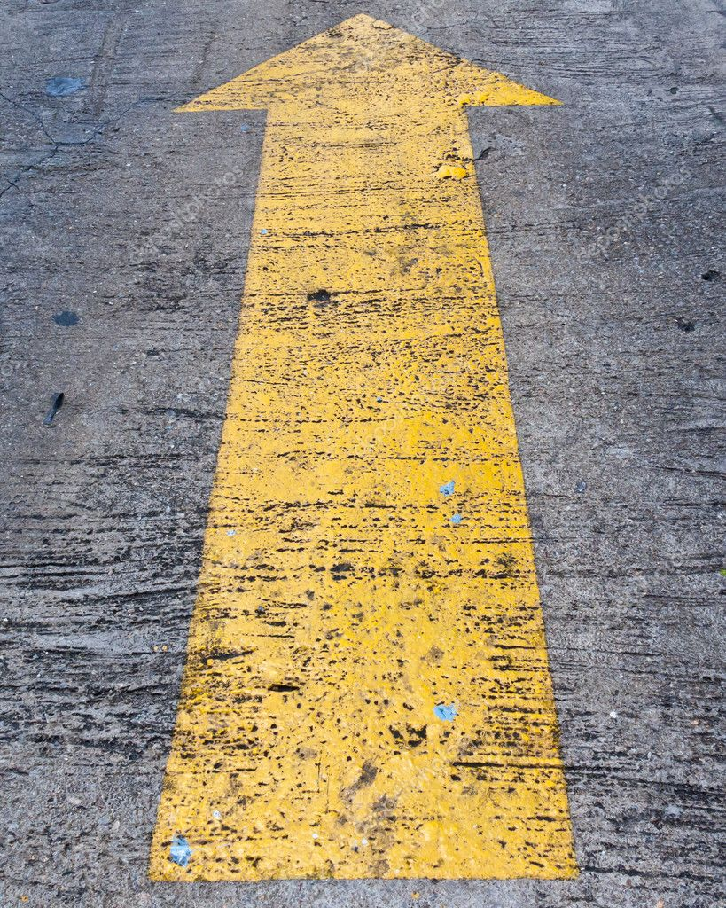 Yellow arrow to indicate the travel of the arrow  Stock Photo #10095656