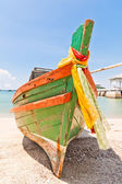 Front of the boat made ​​of wood — Stock Photo