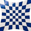 Blue and white square tiles - Stock Photo