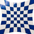 Blue and white square tiles — Stock Photo