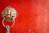 Red doors and door handles — Stock Photo