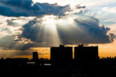 Sunrise in the bangkok city — Stock Photo