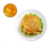 Sandwich with orange juice — Stock Photo