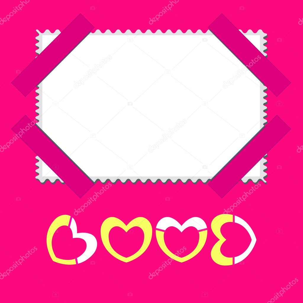 Beautiful pink postcard or photo frame on Valentine's Day — Stock Vector #8823663