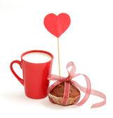 Milk muffin and Love — Stock Photo