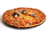 Three mushrooms on pizza — Stock Photo
