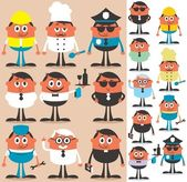 Set of cartoon characters of different occupations. No transparency and gradients used. — Stockvector